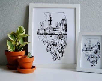 Chicago print, Chicago floral, Chicago decor