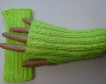 Neon fingerless gloves - neon yellow - neon orange - fingerless gloves - knitwear - mittens - neon gloves - ribbed gloves - gloves