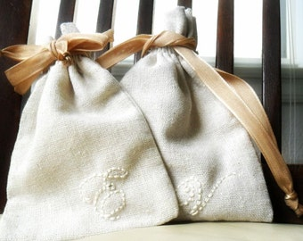 Natural Linen Gift bag Personalized  Drawstring cotton pouches Party favors Bridesmaids gift  Baby shower flower girl Jewelry Gift Bag