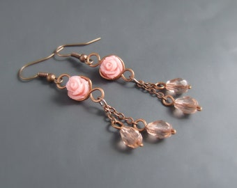 Pink rose country chic earrings botanical jewelry, floral dangle earrings, birthday women gift