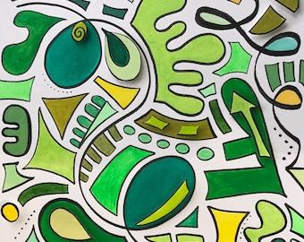 Green, contemporary art, original art, wall art,  abstract art, home decor, nursery wall art, modern art, bright, colorful, kids room