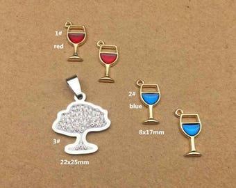 10PCS, Enamel Charm, Drink Cup Charm, White Tree Pendant, Jewelry Charm, Craft Supplies, Gold Tone