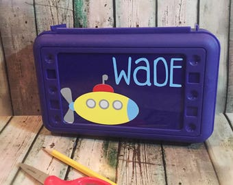 Submarine Pencil Box - Boys Pencil Box - Personalized Pencil Box - Pencil Box Kids - Pencil Case - School Supply Box - Crayon Box - Art Box