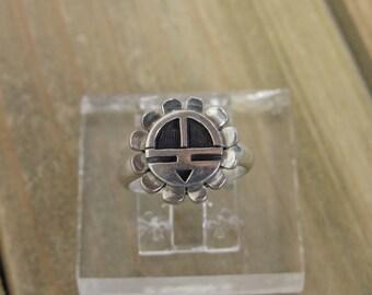 Vintage Hopi Sterling Silver Sun Face Ring Size 4.5