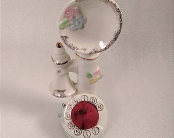 Vintage Our Own Import Porcelain Phone Pincushion Measuring Tape