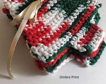Holly Jolly Christmas Tree Crochet Coasters