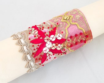 Cuff bracelet-ribbon-sequins-Fabric cuff beaded bracelet-Pink-Red