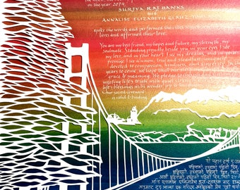 West - East- Golden Gate Bridge and Kanchenjunga Mountains behind Darjeeling - papercut ketubah - hand lettering