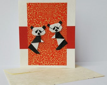 Origami Panda Card Handmade Blank With Japanese Paper