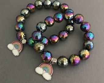 Rainbow Charm Bracelet, Lisa Frank Jewelry, Rainbow Jewelry, Pride Bracelet, Lisa Frank Charm Bracelet