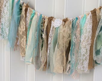 Rustic fabric banner, shabby, turquoise, fringe fabric garland, burlap fabric banner, boho home decor, shower decor, window swag, photo prop