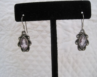 Vintage Amethyst annd Sterling Silver Drop Dangle Earrings 925