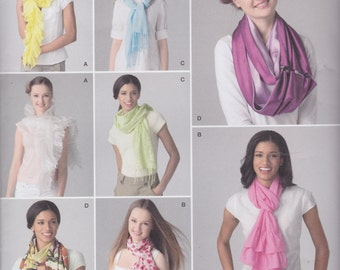 Simplicity Scarf Pattern 2170 Looped Style with Button Closure & Wrap Styles with Plain, Fringed or Ruffled Ends