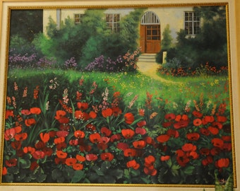 Oil on Canvas Original Art Painting Unique Artwork Signed by Heddy Kun Red Flowers