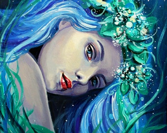 "8 x 8, Fine Art Print, ""Thalia"", painting by Kamille Freske, mythology, pagan art, wiccan art, fantasy art, fairy art, goddess art, faerie"