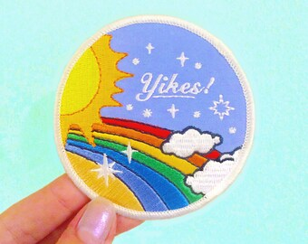 Yikes! Rainbow Embroidered Patch, 70s Vintage Inspired Retro Rainbow and Sun, Iron On Patch, Funny Sew on Patch, Patches for Jackets