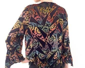 Fabulous 1920s jacket devoré velvet Art Deco design