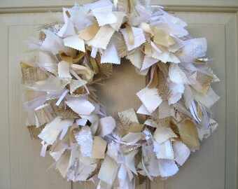 Wedding Wreath, Wedding Decorations, Boho Wedding, Rustic Wedding Decor, Shower Decor, White Lace Door Wreath, Country Beach Prairie Wedding