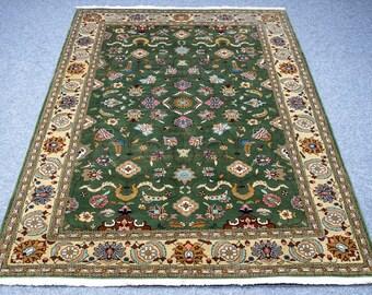Handmade Persian Carpet  6.5′ X 9.6′ Persian Mahal Boho Carpet Hand-knotted  Green Brown Beautiful Area Rug on Sale