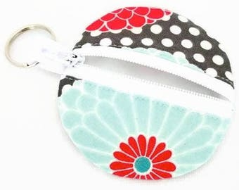 Earbuds Case, Earbud Pouch, Earbud Purse, Earbud Keychain, Fabric Earbud Case, Coin Purse, Earbuds Holder, Earbuds Pouch Keychain, Polka Dot