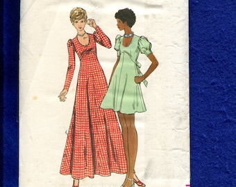 1970's Butterick 6950 Empire Baby Doll Dress with Shaped Waist U Neckline and Ties to the Back Evening Length too Size 12