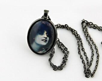 Vintage Lady Necklace, Gunmetal Black, Fine Art Print, Photo Jewelry, Pin Up Girl