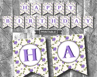 Floral Birthday Party Decoration Banner Digital Printable, Purple Roses, Adult Birthday-Happy Birthday