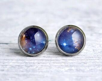 Galaxy earrings, space nebula ear studs, small glass ear studs, blue earrings