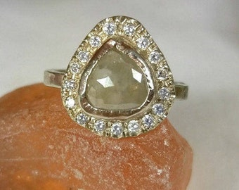 Rose Cut Diamond Ring, Diamond engagement ring, Natural diamond and 14 kt solid white gold  Halo ring, statement ring, multi stone ring