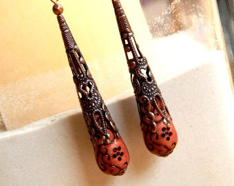 Earrings ethnic Brown printed beads and antique copper beads