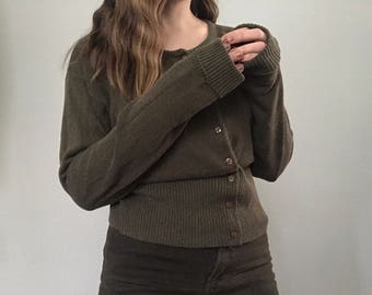 vintage olive green button up top/cardigan