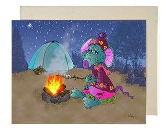 Camping, Camping, sunshine, happy, sports card card, card congratulations card mouse card Relaxation