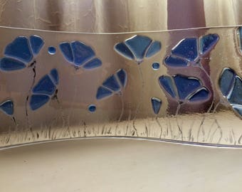 Stained Glass Blue Floral Fused Freestanding Art