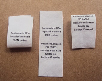 Fabric Care Labels - custom garment labels (fold over), clothing care labels