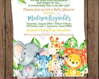 Custom Printed Jungle, Watercolor, Wild Animals, Safari Baby Shower  Invitations   Boy ...