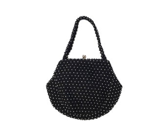 Black Corde Bead Handbag