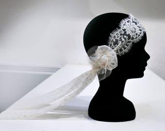 Heandband wedding headdress, Bohemian, flower, lace and satin