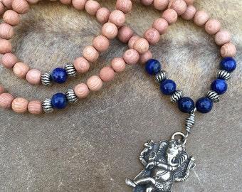 Ganesh Pendant Mala Beads Lapis Lazuli Ganesha 108 Bead Rosewood Mala Necklace Hindu Jewelry Set OM Earrings Yoga Jewelry Hindu God Necklace
