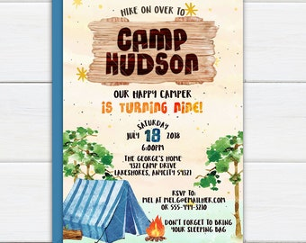 Boys Camping Party Invitation, Camp Out Happy Camper Birthday Party, Outdoor Adventure Summer Camp, Backyard Camping Printable Invite