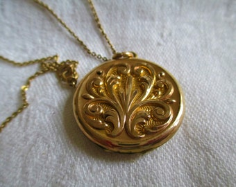 Antique Victorian Locket 14K Yellow Gold Filled Awesome Scrolling La Fleur De Lis Locket 16 inch Necklace
