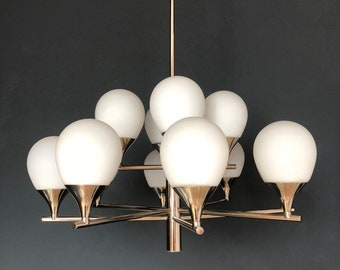 Kaiser Ceiling Lamp Chrome And Opaline Glass Mid Century Modern 1960s