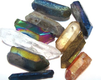 Rock crystal points 10 piece sampler set small mixed natural and coated colors