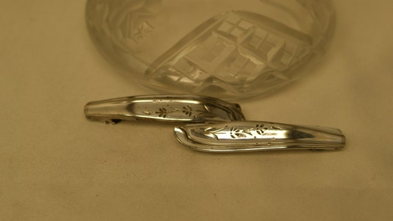 Pair Of Hair Barrettes Handcrafted From Two Pieces Of Vintage Silver Plated Silverware. by Etsy