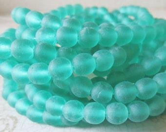 Green Emerald Matte 6mm Round Czech Pressed Glass Druk Beads, 30 Piece