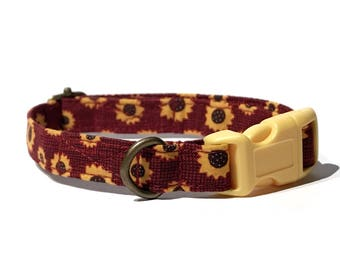 Sunflower Field  - Maroon Burgundy Sunflowers Flowers Floral Fall Organic Cotton CAT Collar Breakaway Safety - All Antique Metal Hardware