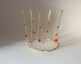 Queen of Hearts Crown made with gold wire and red crystals