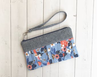 Floral Wristlet Clutch Bags Rifle Paper Co  Les Fleurs Zipper Pouch Blue Clutch Purse Gift For Her Handbag Gift For Women Gift For Mom