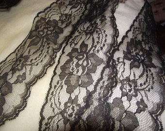 """Black polyester Flat Lace 10yd piece. 3"""""""