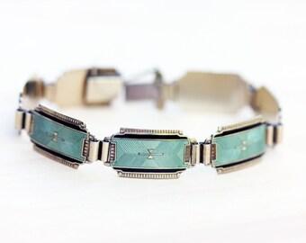 Enamel Silver Bracelet, Deco Sterling Bracelet, Deco Bracelet, French Enamel Bracelet, Enamel Bracelet, Sterling Silver Bracelet, Guilloche