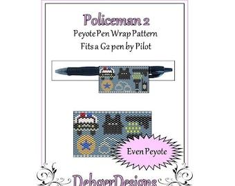 Bead Pattern Peyote(Pen Wrap/Cover)-Policeman 2